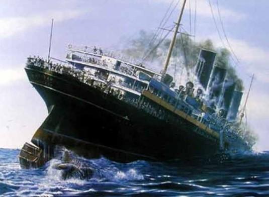 Sinking of RMS Lusitania.