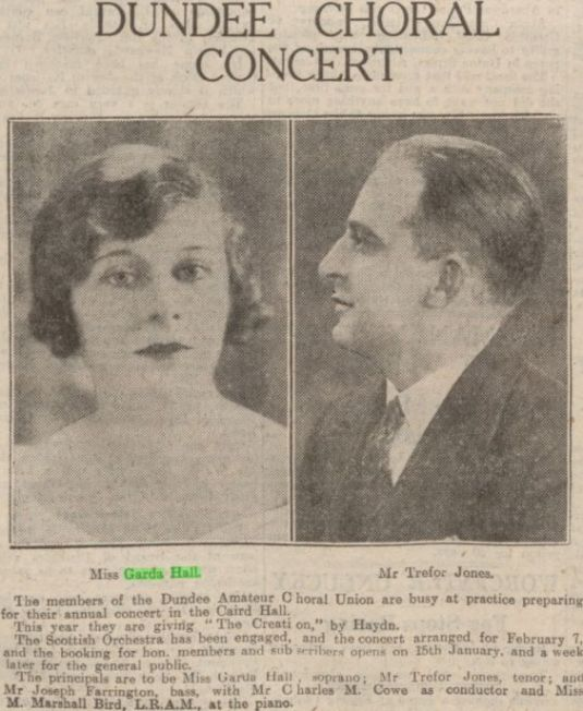 """Garda Hall and Trefor Jones to sing in """"Creation""""."""