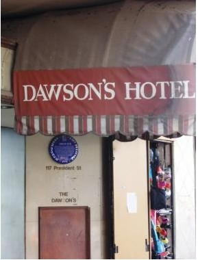 Dawson's Hotel entrance with Blue Plaque.