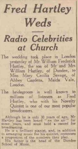 Fred Hartley's wedding 1935