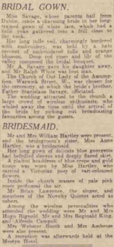 Mention of Mrs Webster Booth as one of the guests at the wedding.